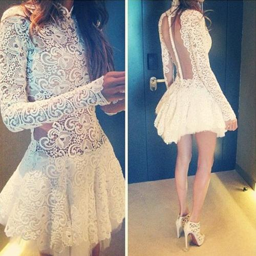 Sexy Backless See-throught Long Sleeve Lace Dress