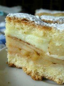 Ciasto z jablkami i budyniem. Składniki - blacha ok. 30x40 cm, może być ciut ...