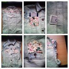 Unikatowa kamizelka jeansowa z kwiatowymi wstawkami/naszywkami na plecach i kieszeniach. Posiada ręcznie szarpane rękawy i 4 kieszenie. Rozmiar M Cena :50zł :)