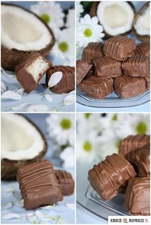 Przepis na domowe Bounty Składniki na około 25 kulek: 200 g wiórków kokosowyc...