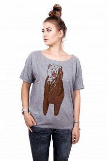 """T-shirt damski """"Zły miś"""" gray"""