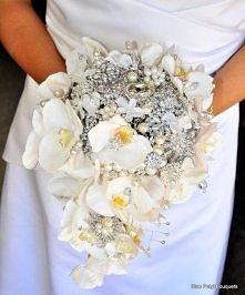 Zimowy bukiet ślubny - storczyki