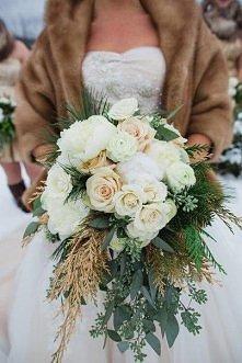 Zimowy bukiet ślubny- gałązki drzew iglastych