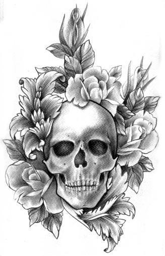 Czaszka Otoczona Kwiatami Na Wzory Tatuaży Zszywkapl