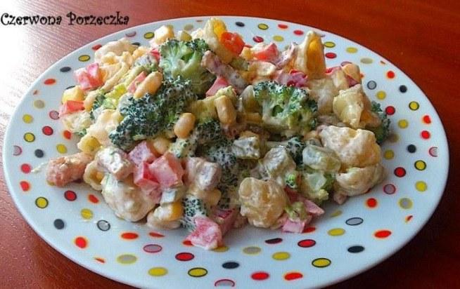 Składniki:      brokuły     2 szklanki makaronu muszelki     papryka czerwona     puszka kukurydzy     5-6 ogórków kiszonych     10-15 plasterków boczku wędzonego     3 łyżki majonezu     2 łyżki jogurtu naturalnego     1 łyżeczka musztardy     2 ząbki czosnku     czosnek granulowany     pieprz ziołowy  Wykonanie: Makaron i brokuły gotujemy al dente. Paprykę i ogórki kroimy w kostkę. Boczek kroimy w paseczki i podsmażamy na patelni. Wszystkie składniki mieszamy razem. Z majonezu, jogurtu i musztardy robimy sos. Doprawiamy go pieprzem i czosnkiem granulowanym. Zalewamy sosem składniki sałatki i dokładnie mieszamy. Odstawiamy na godzinę do lod