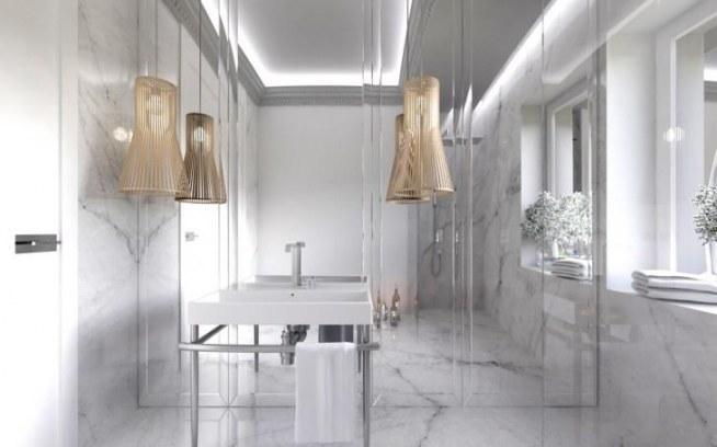 Wystrój Luksusowej łazienki Klasyczne Białe Wnętrze