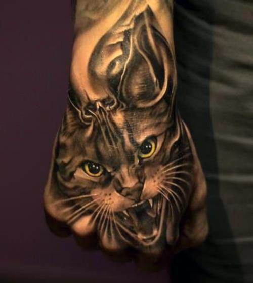 Tatuaż Kota Na Dłoni 3d Na Tatuaże Zszywkapl