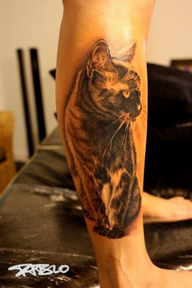 Kot Na łydce Na Tattoo Zszywkapl