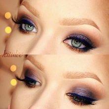 Ciemny oraz kolorwy makijaż...