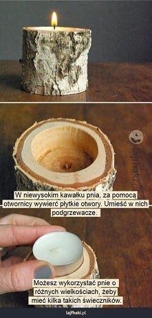 świecznik z drewna.