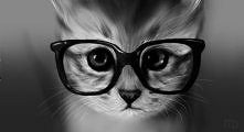 Kot w okularach.