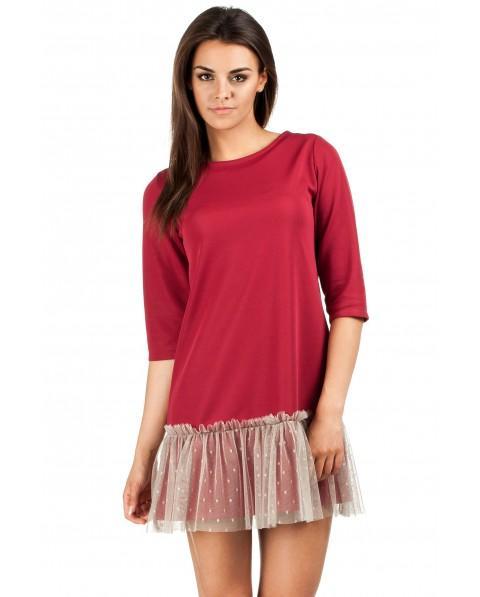 e574b70f84 Trapezowa mini sukienka z rękawami długości przed. łokieć. Na dole ozdobna