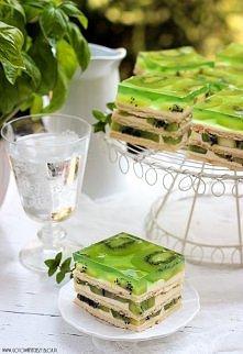 Ciasto z kiwi:  Użyjcie do niego tylko miękkich, dojrzałych kiwi. Owoce muszą być bardzo słodkie. Jeśli będą twarde i kwaśne, zepsują smak i ciasto nie będzie dobre.      Skła...