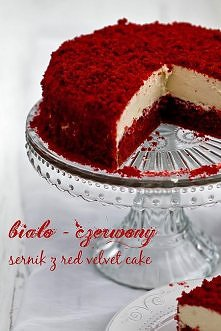 Biało-czerwony sernik z red velvet cake Składniki na masę serową: 600 g twaro...