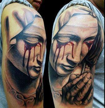 Tatuaż Płaczącej Matki Boskiej Na Tatuaże Zszywkapl