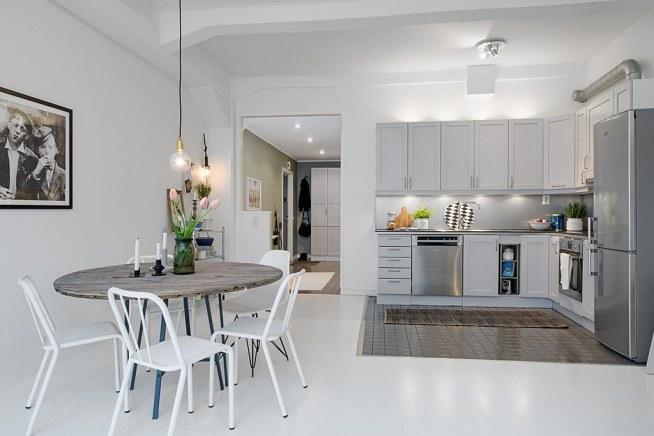 Kuchnia Otwarta Na Salon Mieszkanie W Stylu Skandynawskim