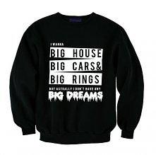 Bluza z nadrukiem BTS BANGTAN BOYS / bluza z napisami I wanna BIG HOUSE BIG CARS BIG RINGS but actually i don' t have any big dreams - moda bluza młodzieżowa KPOP z nadruki...
