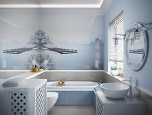 Projekt, aranżacja, Wystrój, Wystrój łazienki, projekt aranżacji łazienka, drewno,  Projekt aranżacji, lustro, wanna, mozaika, błękitna łazienka, styl hampton, hampton, aranżacj...