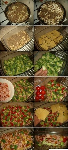 Zapiekanka ;D  Przepis 1. Smażymy mięsko mielone (nie ważne jakie) doprawiamy po swojemu - ja osobiście użyłam mięsko wieprzowe a przyprawiłam , solą, pieprzem, majeranek i zioł...