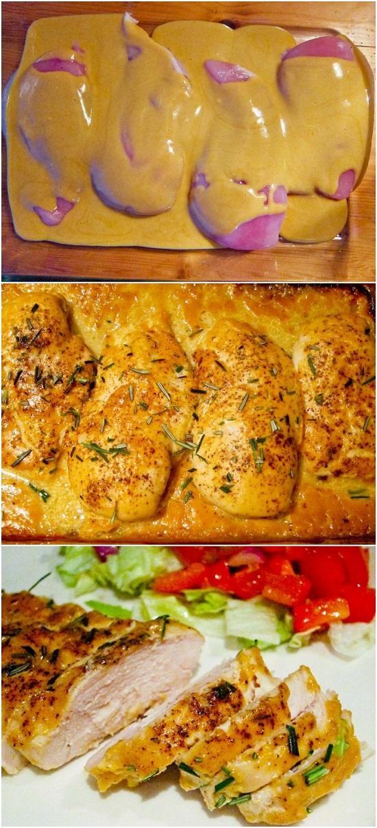 Najlepszy kurczak na świecie Produkty: 4 piersi kurczaka bez kości i skóry 1/2 szklanki musztardy Dijon 1/4 szklanki syropu klonowego 1 łyżka czerwonego octu winnego sól i pieprz rozmaryn Rozgrzej piekarnik do 170 stopni C W małej misce wymieszać musztardę, syrop, i ocet. Umieść piersi kurczaka w naczyniu do pieczenia. Doprawić solą i dużą ilością pieprzu. Wlać mieszaninę musztardy na kurczaka. Upewnij się, że każda z piersi jest wysmarowana Piec przez około 30-40 minut. Doprawić posiekanym rozmarynem.