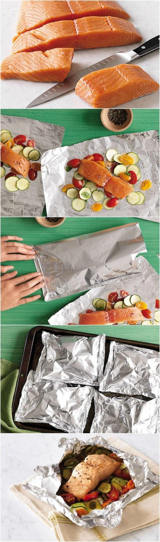 Łosoś w warzywach 1. Świeżość fileta sprawdzić poprzez naciśnięcie palcem. Miąższ powinien odskoczyć, nie pozostawiając wcięcia. 2. Łyżka warzyw na folię, dodać 2 łyżeczki bulionu, Umieść filet z ryby na górze. Posypać lekko solą i czarnym pieprzem. 3. Złożyć folię na ryby i zaciskać na dłuższej krawędzi 3 razy do uszczelniania. Powtórzyć, aby uszczelnić dwa krótkie boki. 4. Rozgrzać piekarnik do 230 ° C. Pakiety ułożyć na blasze. Zapiekać ok 20 minut. z: prevention.com