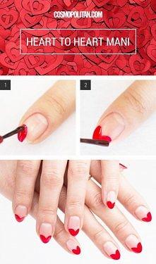 Serduszkowe końcówki na paznokciach