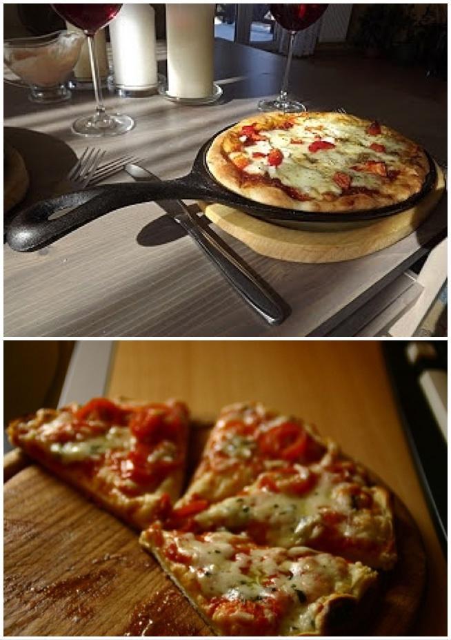 szybka pizza z patelni -10 minut robienia i tyle samo smażenia :)    SKLADNIKI NA CIASTO: 6 łyżek mąki, 2 jajka, woda, 2 parówki, szczypiorek, sól i pieprz, DODATKI 2-3 łyżkikoncentratu pomidorowego lub keczupu, oregano, ser żółty, olej do smażenia  *oczywiscie mozesz dać własne składniki np papryke, pieczarki, oliwki   PRZYGOTOWANIE:   przesianą mąke zmiksować z jajkami, dodając trochę wody, żeby ciasto nie byłó zbyt żadkie ani zbyt gęste. dodać soli i pieprzu do smaku. Parówki i szczypiorek drobno pokroić dodac do ciasta. Na patelni rozgrzać trochę oleju i wylać ciasto. Rozsmarować je na całej powierzchni. Smazyć aż placek na spodzie będzie rumiany, wtedy zmniejszyć mocno ogień i przewrócić placek na drógą strone za pomocą dwóch łopatek. Posmarować koncentratem lub keczupem. Oprószyć oregano i obsypać startym serem. smażyć pod przykryciem, aż ser będzie całkowicie stopiony. Oczywiście jest to wersja podstawowa,można użyc swoich ulubionych dodatków. I jeśli ktoś woli cienkie ciasto to wystarczy zmniejszyć ilość mąki o połowę.