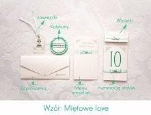 Eleganckie zaproszenia ślubne w stylu Miętowe Love  Zamówienia na blogu artirea.blogspot.com lub na fb - artirea :)