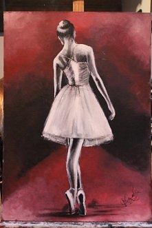 Baletnica, obraz akrylowy na płycie, 50x70