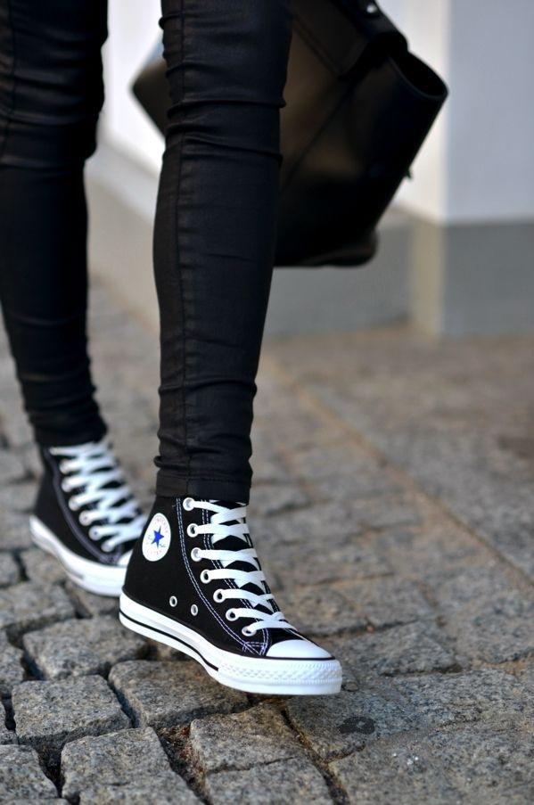 niezawodne, czarne klasyczne converse <3 na buty ♥ Zszywka.pl