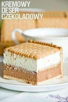 Mus czekoladowo - śmietankowy na herbatnikach Przepis Składniki: 500 g serka ...