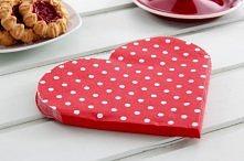 Serwetki dekoracyjne PAW HEARTS DOTS RED 12 szt.