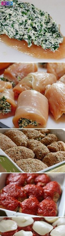 Roladki z Kurczaka ze Szpinakiem i Mozzarellą...pychota Farsz: 1 łyżka masła,...
