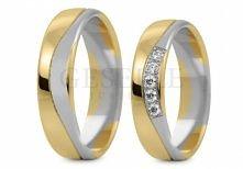 ST 293 Obrączki ślubne z kolekcji Stelmach z białego i żółtego złota 585 14K z cyrkoniami lub brylantami GRAWER W PREZENCIE od GESELLE Jubiler