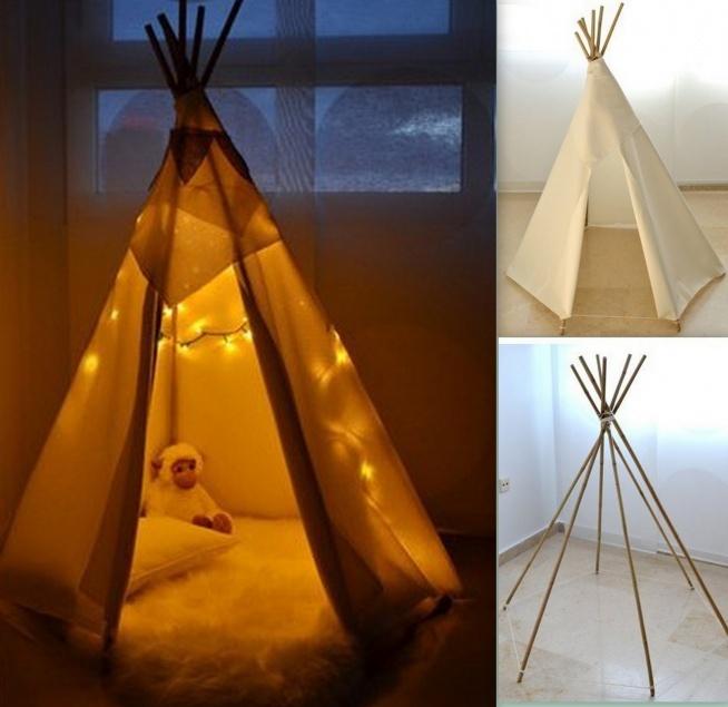 Nuda w domu? Indiański namiot wykonany w domu. Wybieramy kije tej samej długości. Związujemy na wierzchołku oraz na dole. Obwiązujemy dowolnym materiałem i gotowe:) Pomysł zaczerpnięty z stylowi