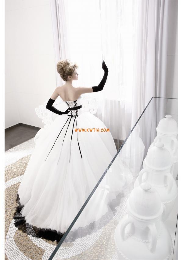 piękny czarny bez ramiączek suknia ślubna biała koronka tiul