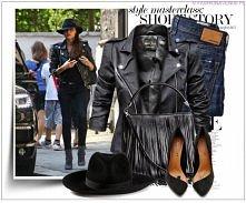 Stylizacja kurtki damskiej ramoneska klasyczna z pagonami skóra biker moto jacket model #73 w sklepie FASHIONAVENUE.PL
