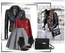 Stylizacja ekskluzywna kurtka damska ramoneska moto biker jacket zameczki bufki model #70 w sklepie FASHIONAVENUE.PL