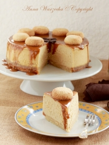 """Sernik  """"Cafe Amaretto"""" (przepis własny)   Składniki na tortownicę o śr.20cm Ciasto na spód: 100g mąki ryżowej 50g zmielonych migdałów 50g cukru trzcinowego 70g masła 1 łyżeczka..."""