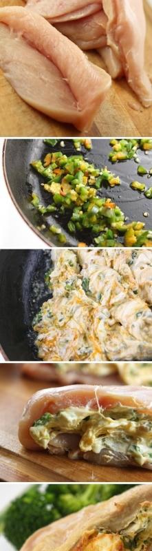 Kurczak faszerowany.....  Potrzebne będą:  piersi z kurczaka 2 łyżki oliwy rozgrzać na patelni 2 zielone posiekane papryczki jalapeno (są to ostre papryczki, można je spokojnie ...
