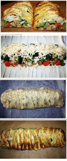 Pierś z warzywami i serem w cieście francuskim Składniki:      op.ciasta francuskiego z Biedronki     mrożony lub świeży brokuł     mrożony lub świeży kalafior     lub mieszanka...