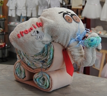 Słonik pieluszkowy z krawatem
