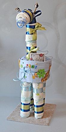 Żyrafka z pieluszek. Idealny prezent na narodziny dziecka.