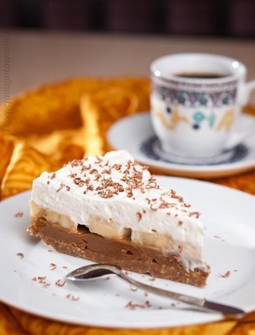 Przepis na pyszne ciasto bez pieczenia! Banoffee... Składniki: ciasteczka digestive (250 g) masło (65 g) krówka (1 puszka, ok. 400 g) banany (2 duże) śmietanka do ubijania (300 ml) trochę czekolady (ok. kostki) Wykonanie: Ciasteczka kruszymy na miazgę, łączymy z roztopionym masłem, mieszamy dokładnie i wykładamy masą formę (u mnie okrągła 24 cm). Wstawiamy spód do lodówki i chłodzimy ok. pół godziny. Następnie wykładamy na spód krówkę, pokrojone na plasterki banany i ubitą śmietanę. Można udekorować startą na wiórki czekoladą. Przechowujemy w lodówce. Smacznego !