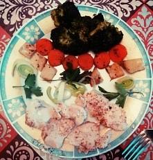 zdrowy obiad, gotowany na parze. Filet z kurczaka+warzywka. :*