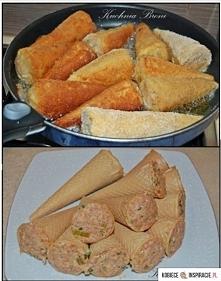 Rożki z mięsem mielonym  Składniki:  Rożki waflowe  50dkg mielonej łopa...