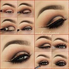 Piękny oraz elegancki makijaż oczu ze złota kreską - krok po kroku <3
