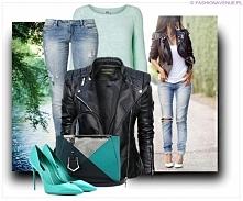 Stylizacja Ekskluzywna Kurtka Damska Ramoneska Motocyklowa Moto Biker Jacket Zameczki Przeszycia Wiosna 2015 Nowość model #100 FASHIONAVENUE.PL