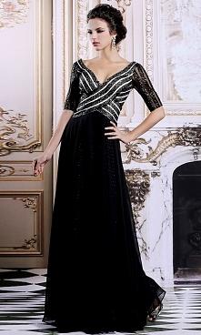 Ekskluzywna czarna suknia wieczorowa na wspaniałe bale i przyjęcia.