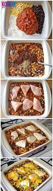 Składniki: 1 szklanka surowego ryżu; 1 szklanka kukurydzy; 1 puszka czarnej f...